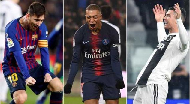 Messi, Mbappe dhe Ronaldo prijnë në garë për Këpucën e Artë
